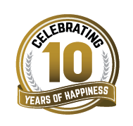 Logo Calebrating 10 Years of Happyness