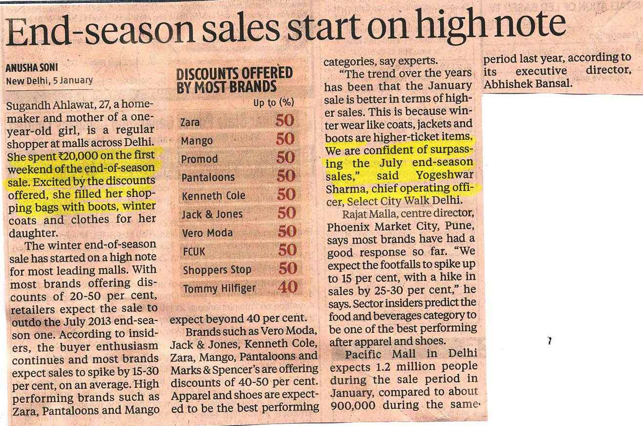 End - Season Sales Start On High Note