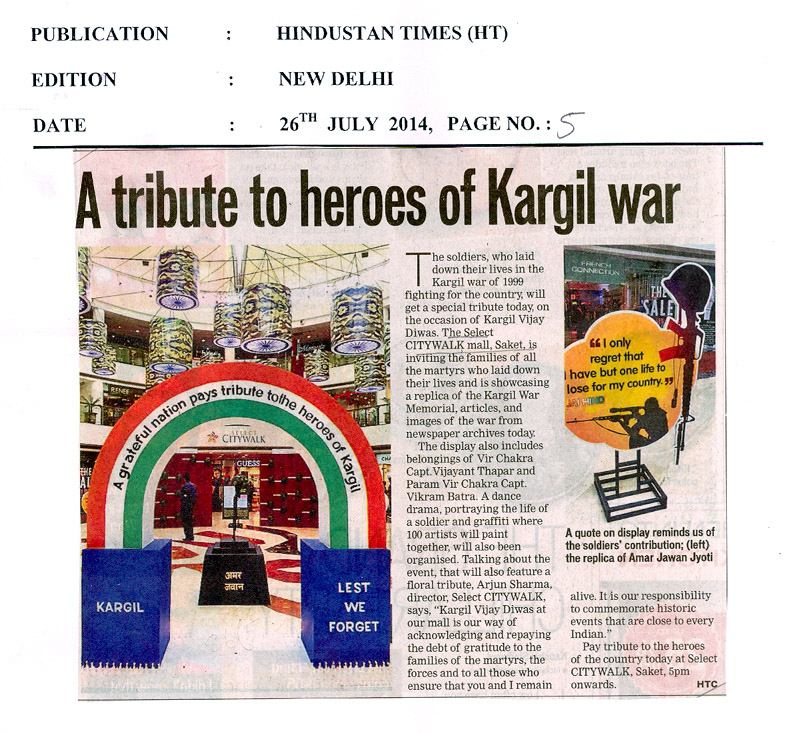 A tribute to heros of kargil war - Select CITYWALK India
