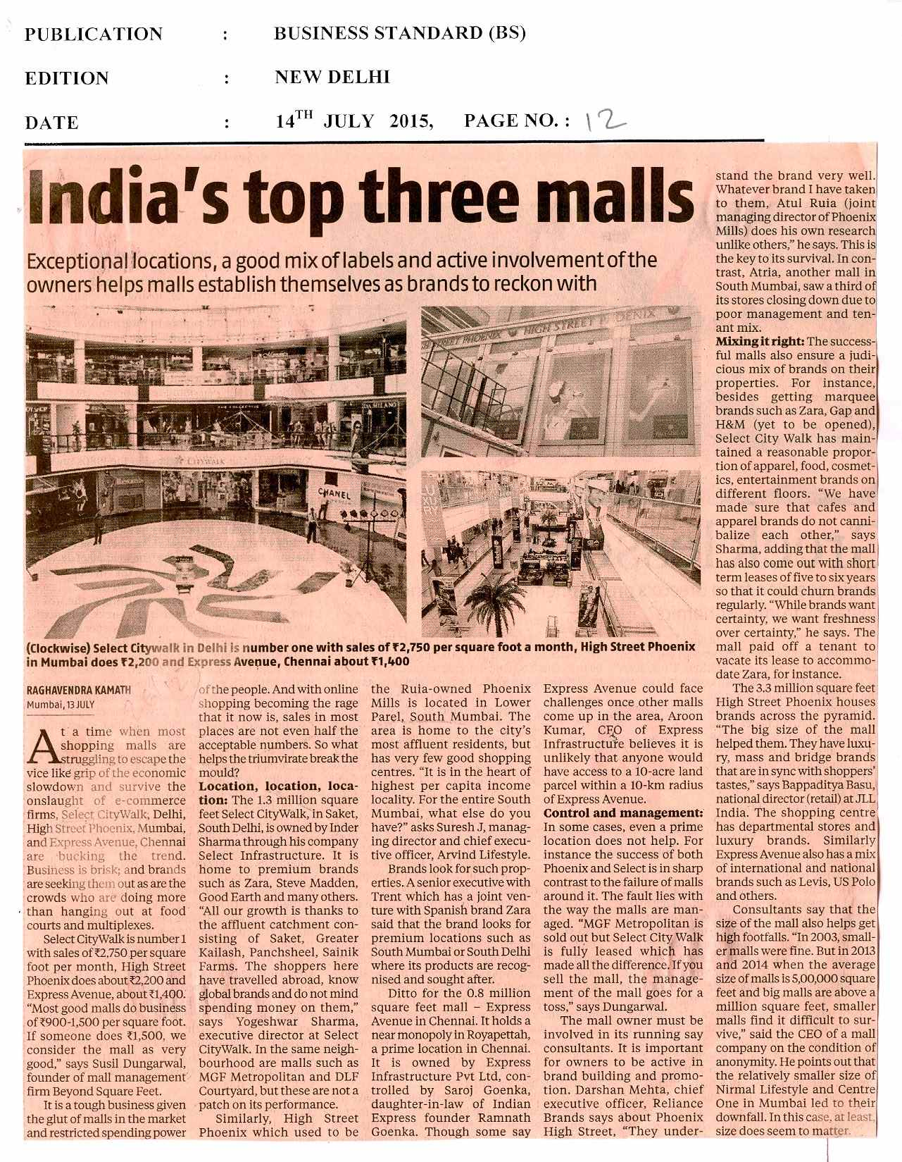 India's top three malls