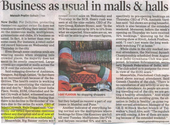 Business As Usual In Malls & Halls-AUG