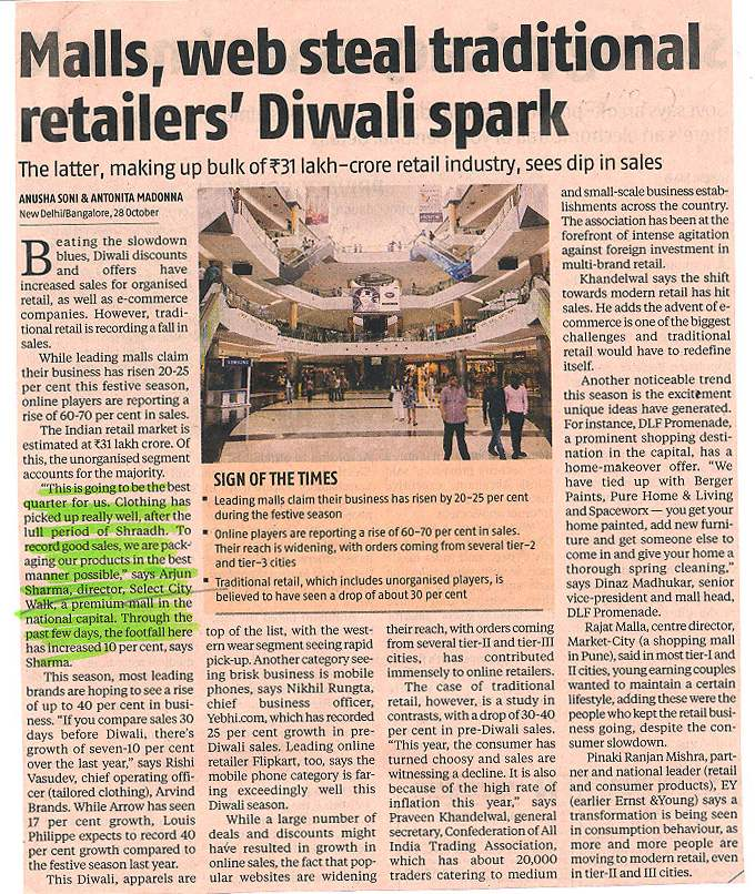 Malls, web steal traditional retailers' Diwali spark