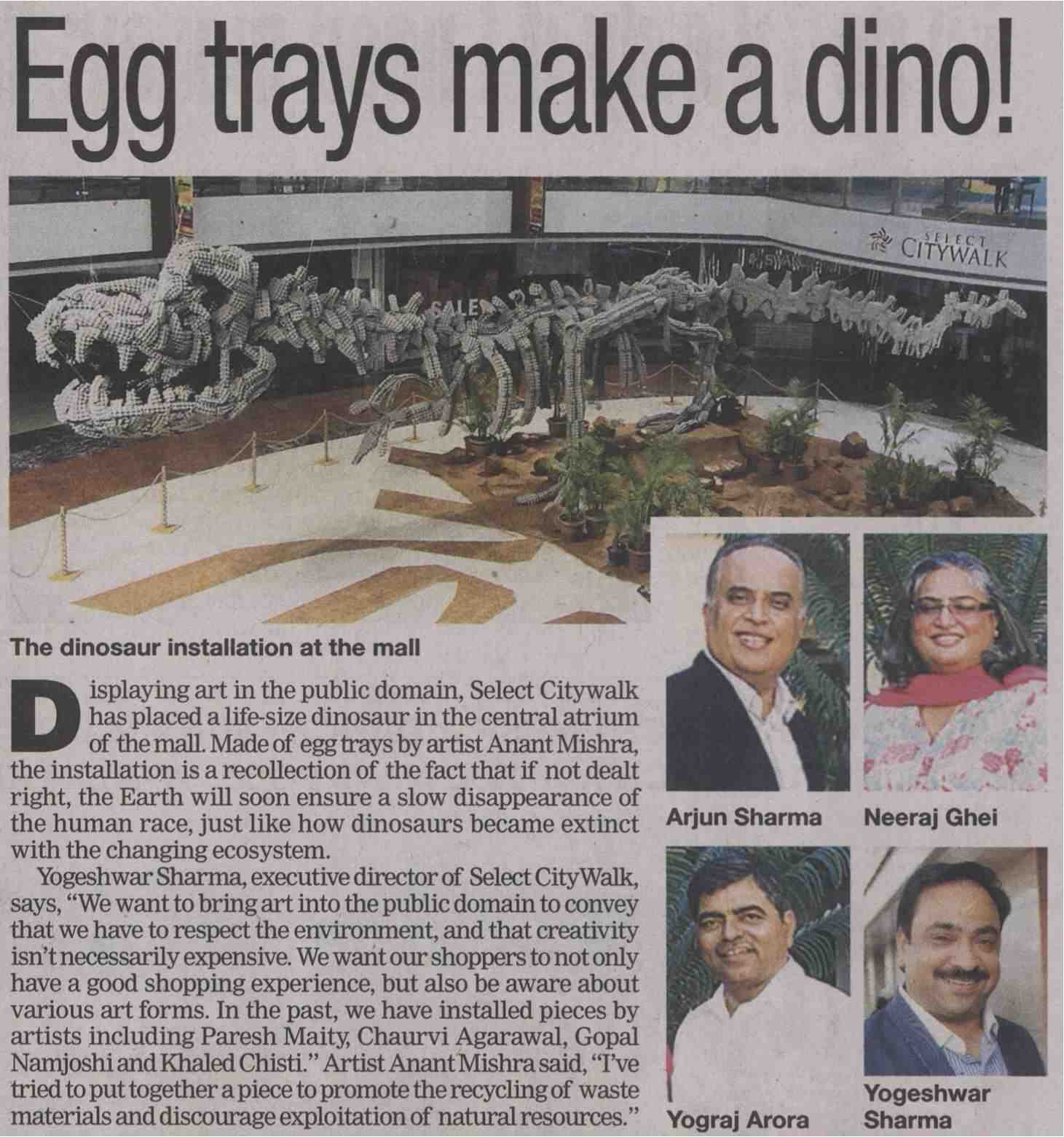 Egg trays make a dino !