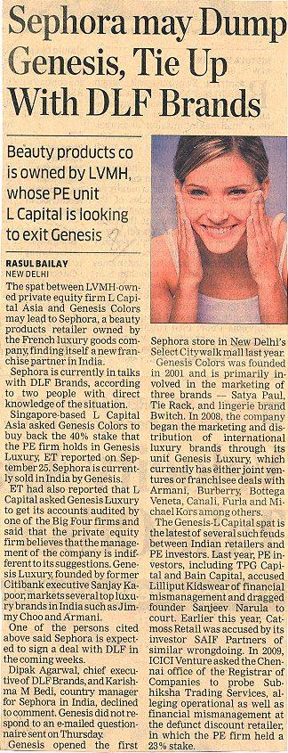 Sephora may Dump Genesis, Tie Up With DLF Brands