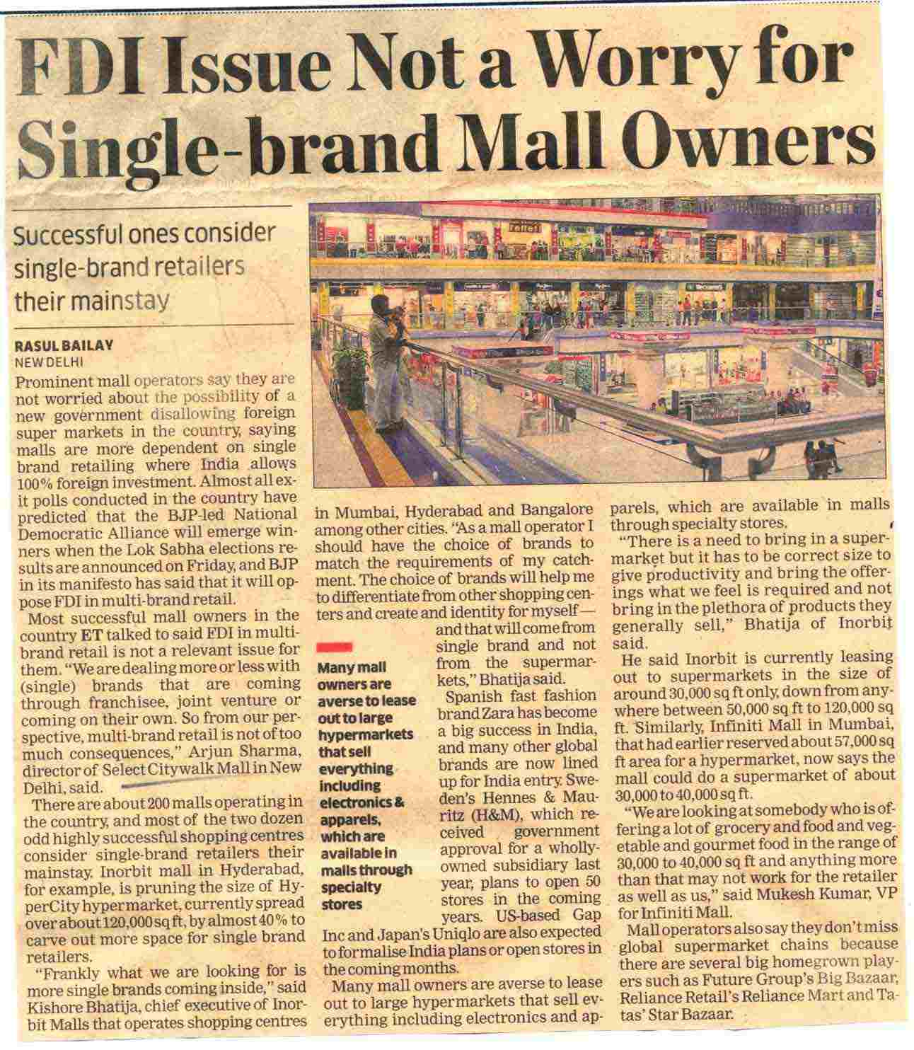FDI Issue Not a Worry for Single-brand Mall Owners