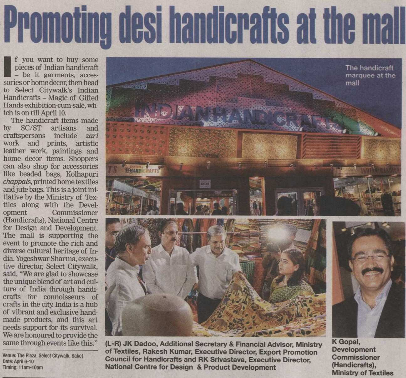 Promoting desi handicraftat the mall