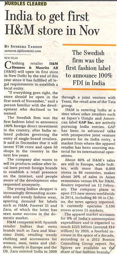 India to get first H&M store in Nov