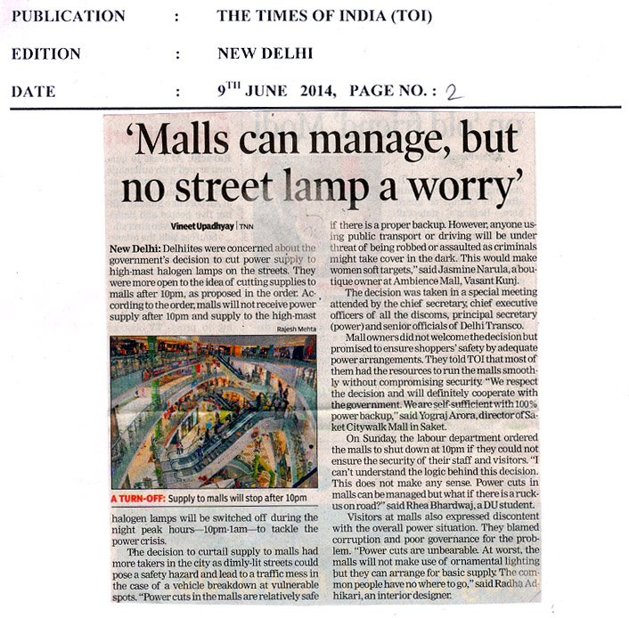 Mall can manage, but no street lamp a worry