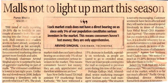 Malls Not To Light Up Mart This Season-JAN
