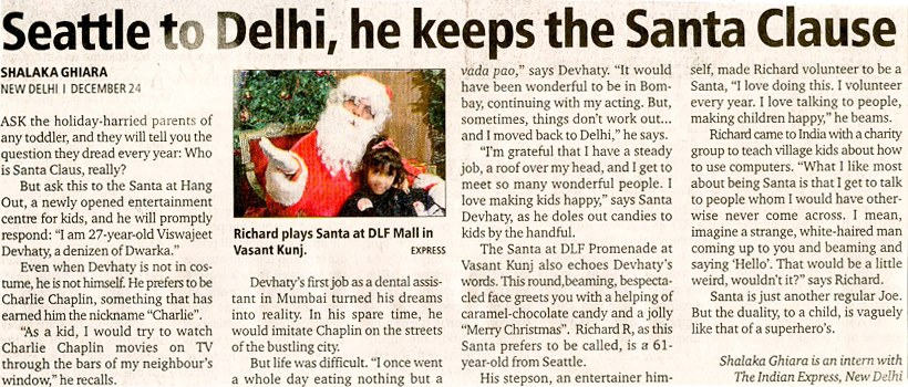 Seattle To Delhi, he Keeps The Santa Clause
