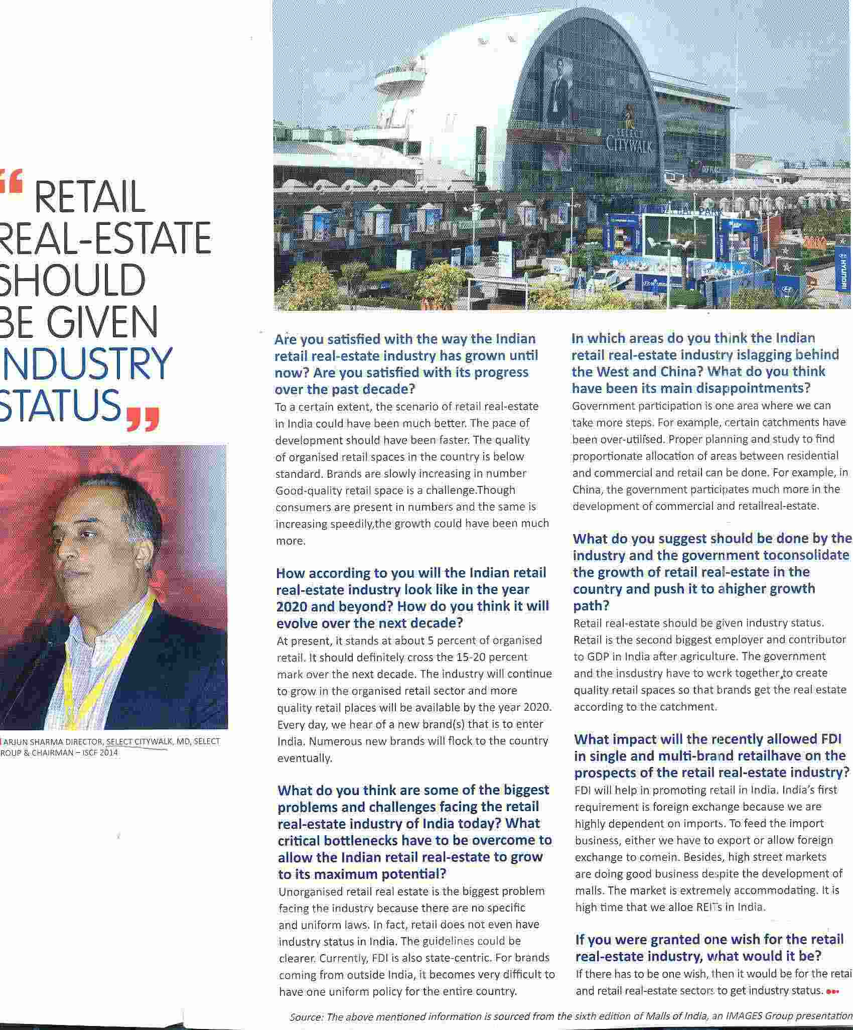 Retail Real-Estate should be given Industry Status