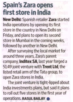Spain's Zara Opens First Store In India-MAY