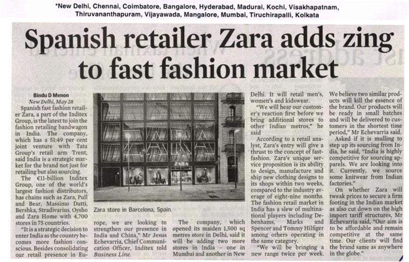 Spanish Retailer Zara Adds Zing To Fast Fashion Market-MAY