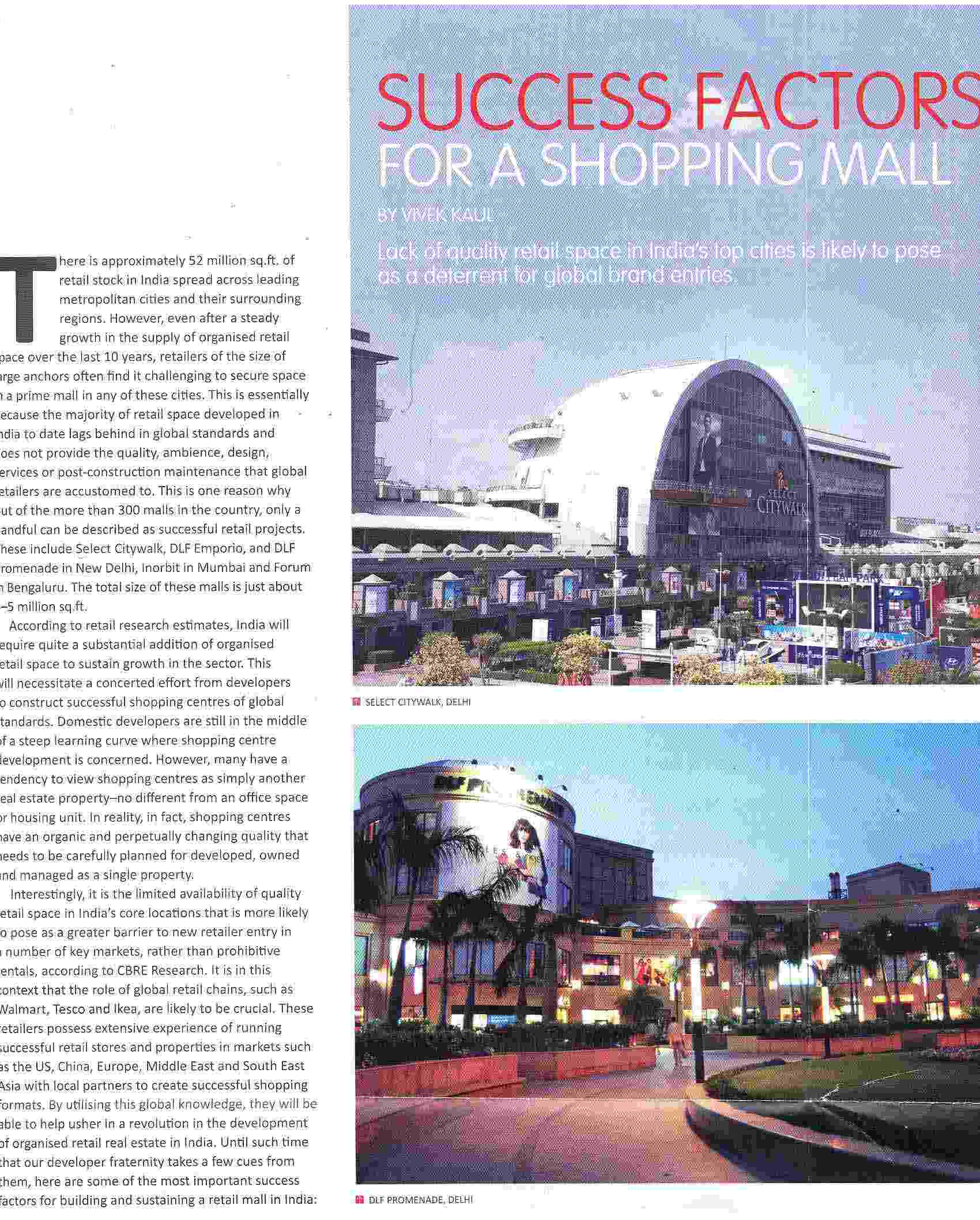 Success factors for a Shopping Mall