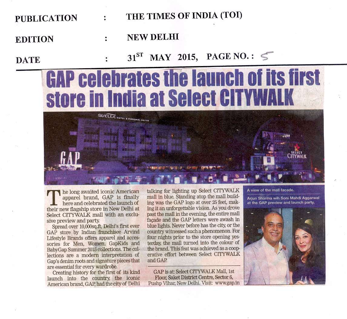 Gap celebrates the launch of its first store in india at Select Citywalk.