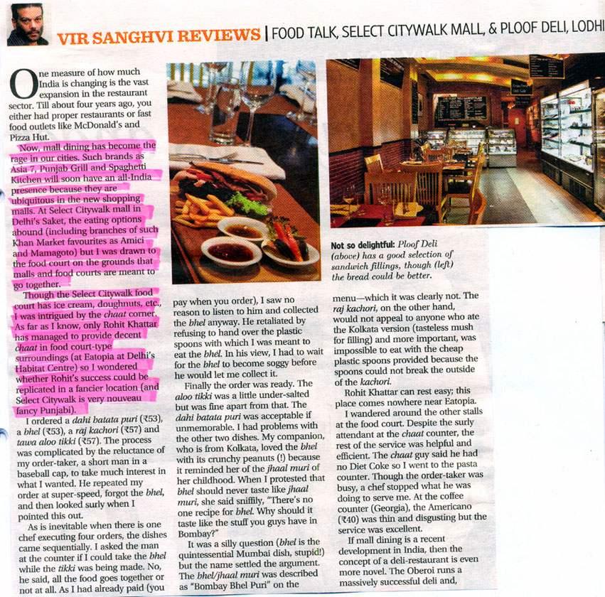 Vir Sanghavi Reviews | Food Talk Select CITYWALK