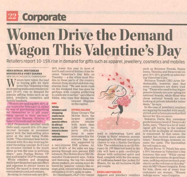 Women Make 60% - 65% Of Buyers On Valentines
