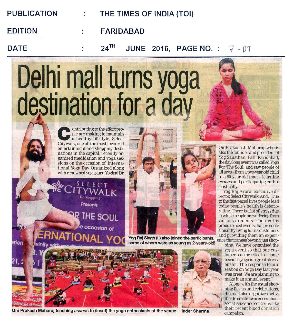 Delhi mall turns yoga destination for a day