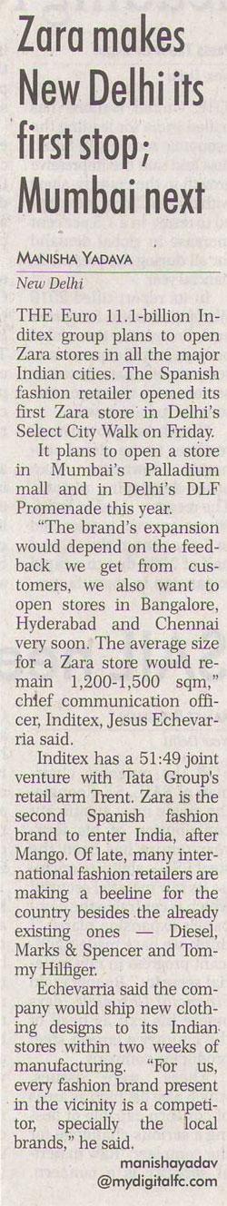 Zara Makes New Delhi Its First Stop-MAY