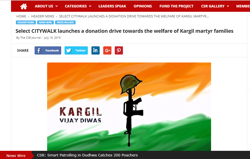 Select CITYWALK launches a donation drive towards the welfare of Kargil martyr families