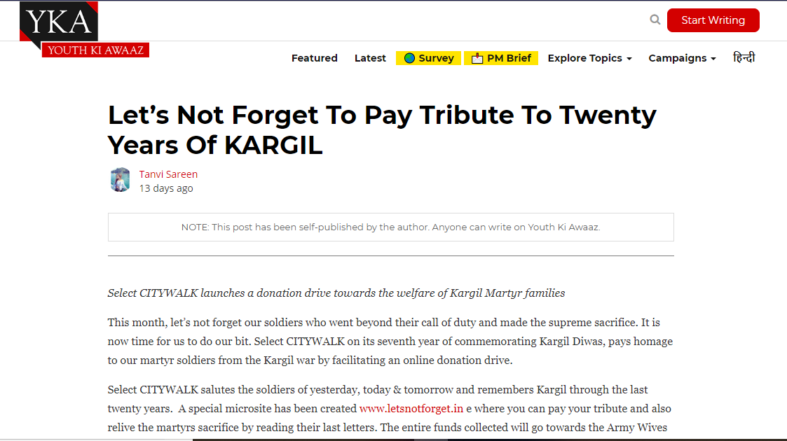 Let's not forget to pay tribute to twenty years of KARGIL