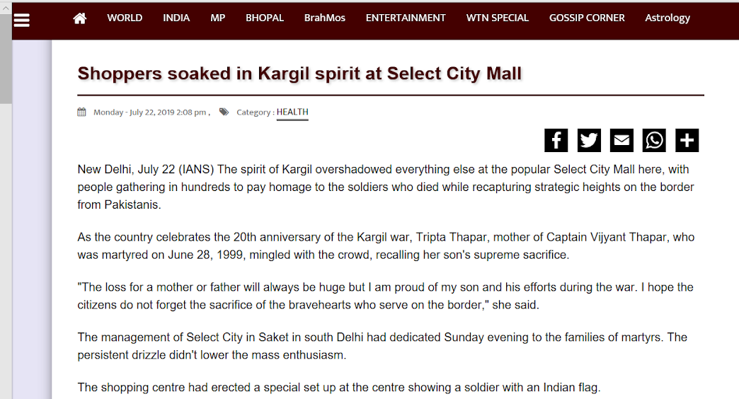 Shoppers soaked in Kargil spirit at Select City Mall