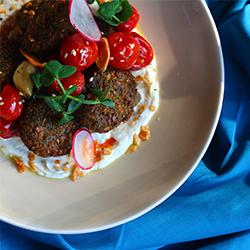 Falafel, Confit Cherry Tomatoes, Tahini Yoghurt