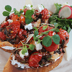 Goat Cheese And Confit Cherry Tomatoes Toast