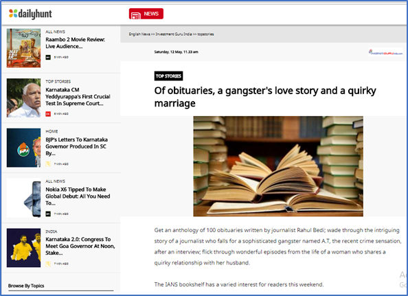 Of obituaries, a gangster's love story and a quirky marriage
