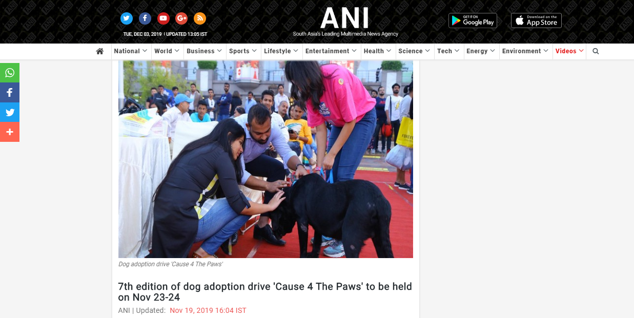 7th Edition Of Dog Adoption Drive 'Cause 4 The Paws' To Be Held On Nov 23-24