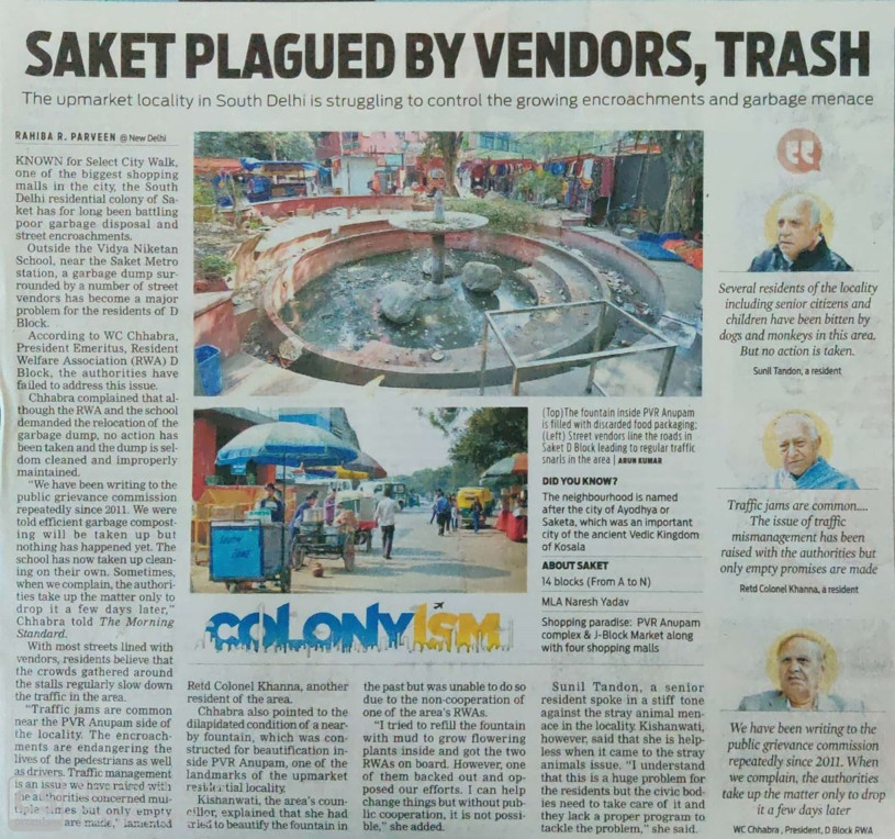 Saket Plagued By Vendors, Trash