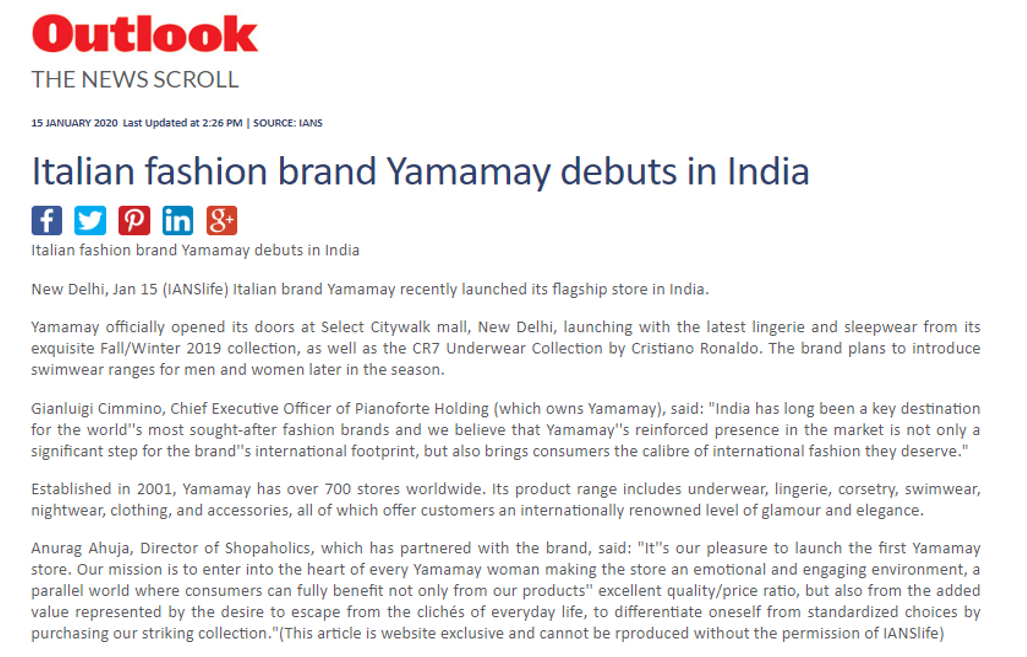 Italian fashion brand Yamamay debuts in India-outlook