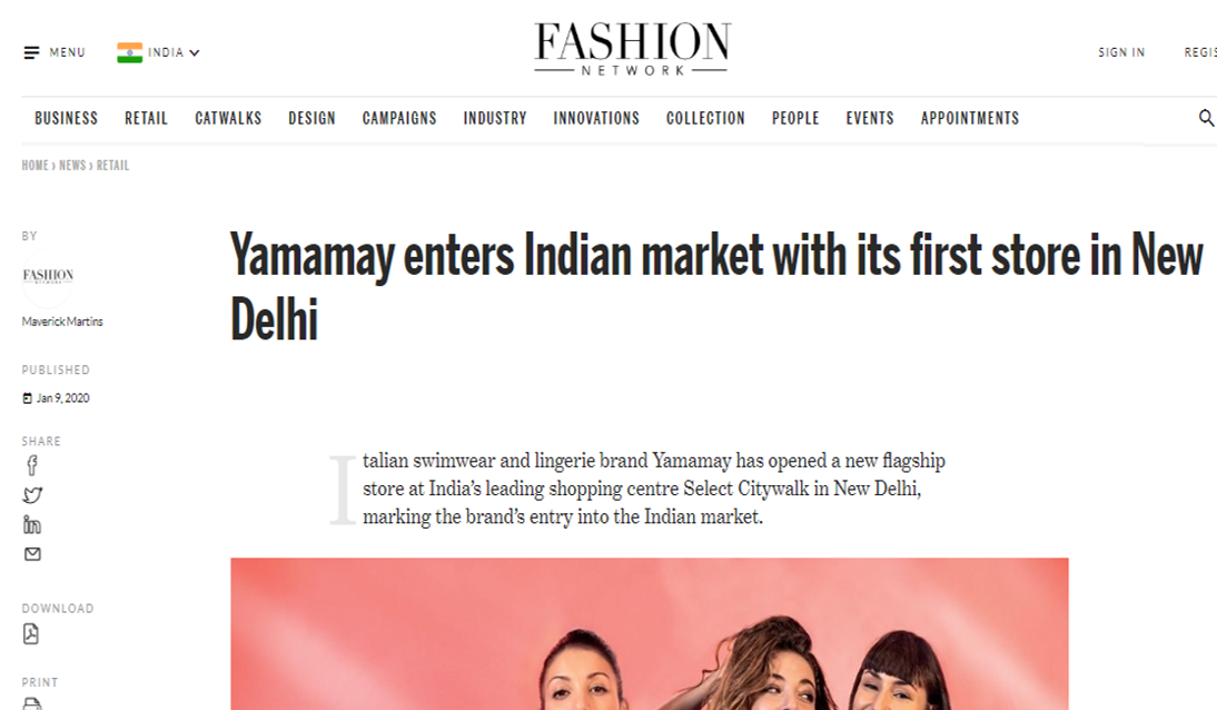 Yamamay enters Indian market