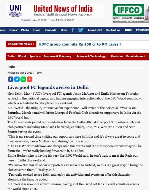 Liverpool FC legends arrive in Delhi