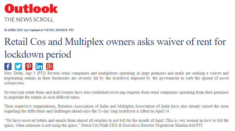 Retail Cos And Multiplex Owners Asks Waiver Of Rent For Lockdown Period
