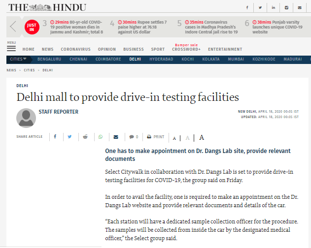 Delhi Mall To Provide Drive-in Testing Facilities