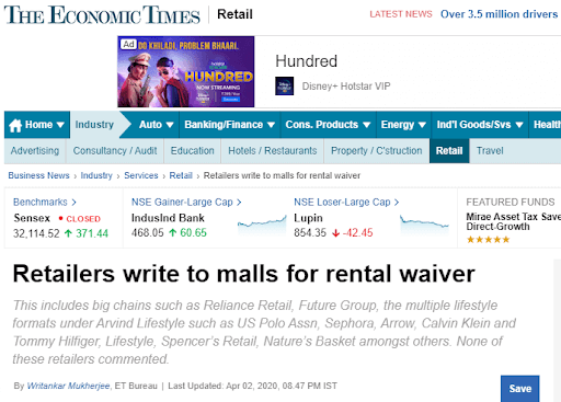 Retailers Write To Malls For Rental Waiver