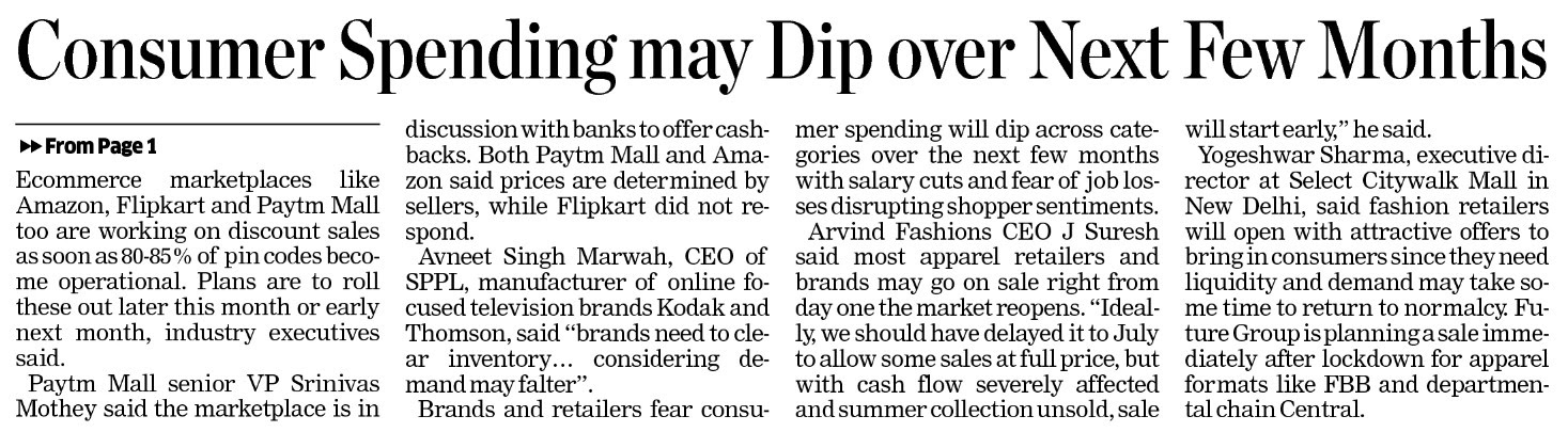 Consumer Spending May Dip Over Next Few Months