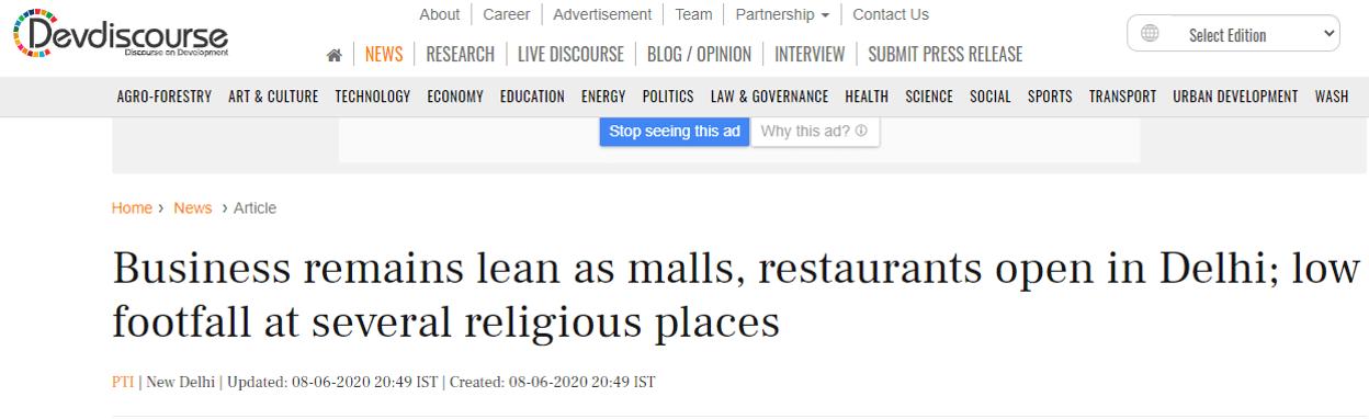 Business remains lean as malls, restaurants open in Delhi-devidiscourse