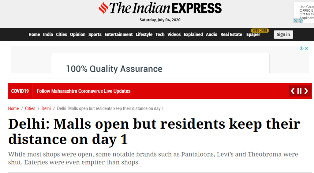 Delhi Malls Open But Residents Keep Their Distance On Day 1