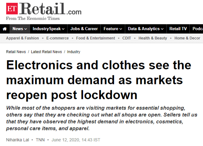 Electronics And Clothes See The Maximum Demand As Markets Reopen Post Lockdown