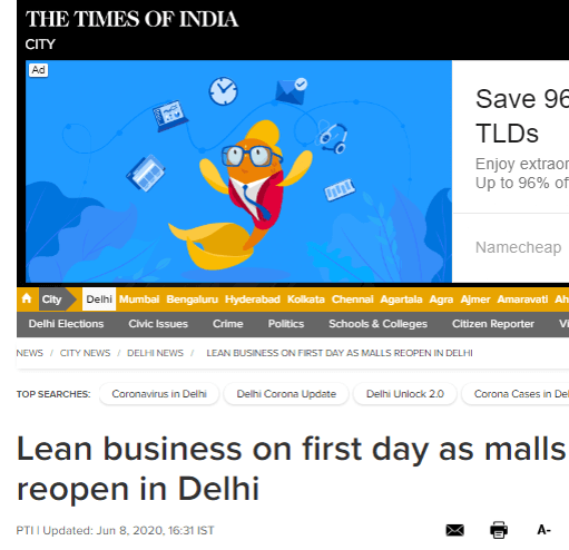 Lean Business On First Day As Malls Reopen In Delhi