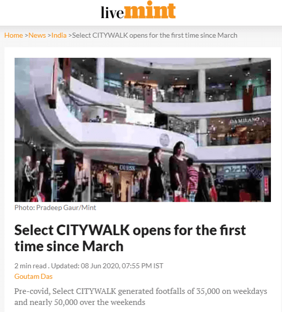 Select CITYWALK opens for the first time since March