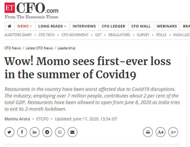 Wow-Momo sees first-ever loss in the summer of Covid19