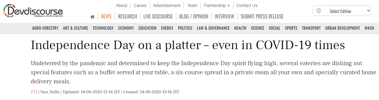 Independence Day on a platter – even in COVID-19 times