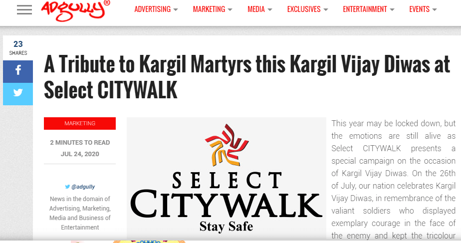 A Tribute To Kargil Martyrs This Kargil Vijay Diwas At Select CITYWALK