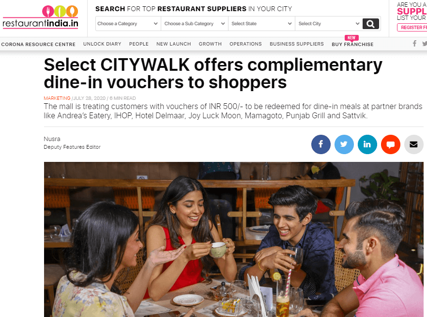 Select CITYWALK Offers Compliementary Dine-in Vouchers To Shoppers