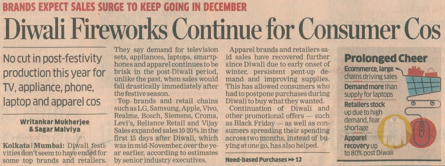 Diwali Fireworks Continue For Consumer Cos